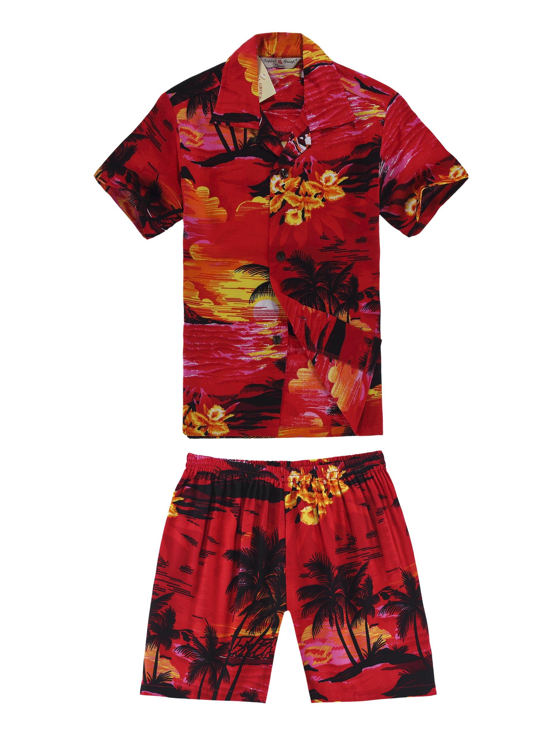 Boy Hawaiian Shirt and Shorts Cabana Set in Red Sunset Size 4
