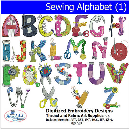 Threadart Machine Embroidery Designs Sewing Alphabet (1) CD