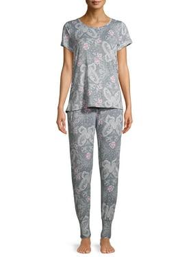 Jaclyn Intimates Women's Crewneck T-Shirt and Joggers, 2-Piece Pajama Set