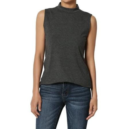 TheMogan Junior's S~3X Mock Neck Sleeveless T-Shirt Stretch Cotton Slim Fit Tank Top Dri Fit Mock Neck Shirt