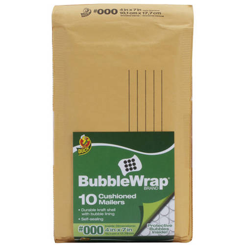 "Duck Brand 10pk 4"" x 7"" Kraft Bubble Mailer"