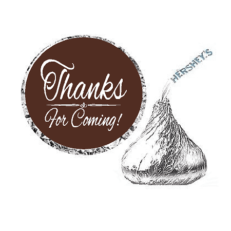216ct Brown Thanks for Coming Party Favor Hersheys Kisses Candy Decoration Stickers / - Charlie Brown Halloween Party Decorations