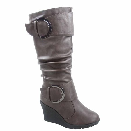 Burgundy Leather Calf Boots - Pure-65 Women's Fashion Round Toe Slouch Large Buckle Wedge Mid Calf Boot Shoes