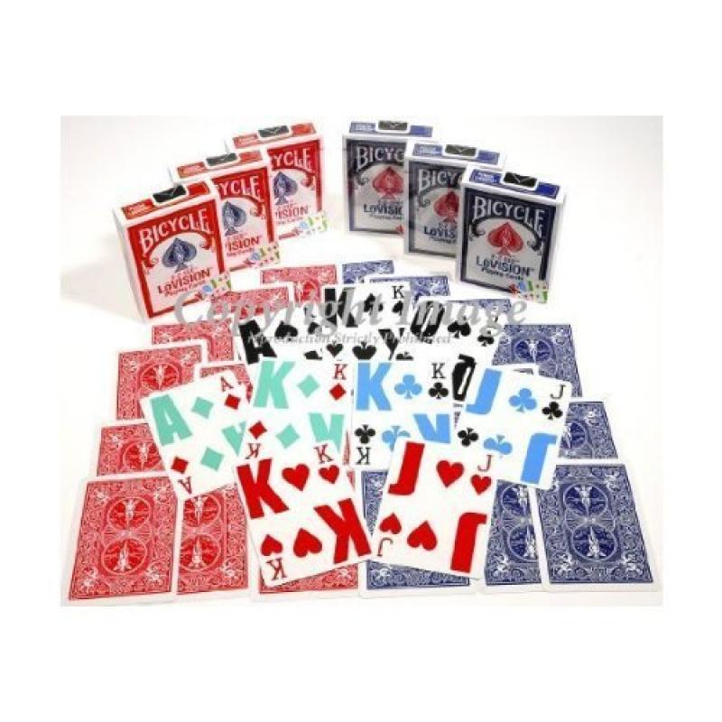 Bicycle E-Z SEE Low Vision, Big Number Playing Cards _ Bundle of 6 Decks