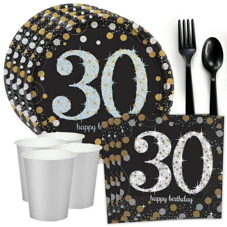 Sparkling Celebration 30th Birthday Standard Tableware Kit (Serves - 30th Birthday Party Themes
