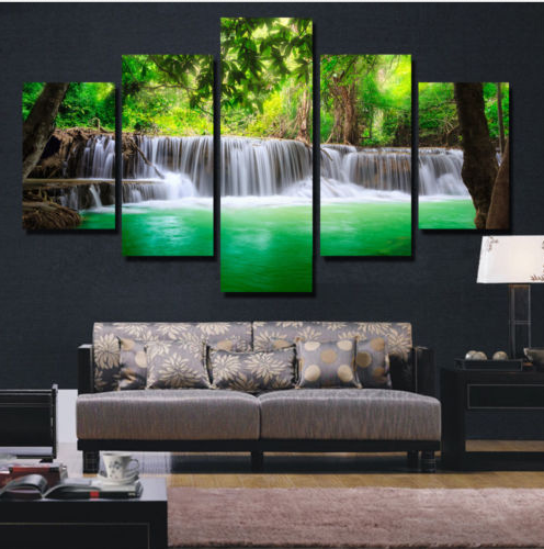 5 Pieces Unframed Large Modern Abstract Art  HD Waterfall Canvas Wall Decor  Painting (No