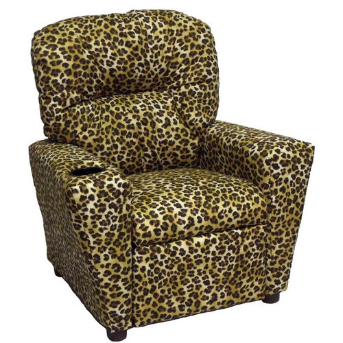 Brazil Furniture Home Theater Children's Cotton Recliner with Cup Holder