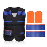 Kids Elite Black Vest with 20PCS Blue Soft Foam Darts & 2 Short Clips for EVA Series Gifts toys