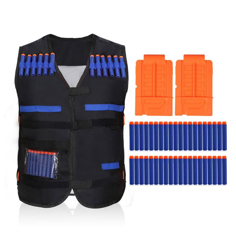 Kids Elite Black Vest with 20PCS Blue Soft Foam Darts & 2 Short Clips for EVA Series Gifts toys