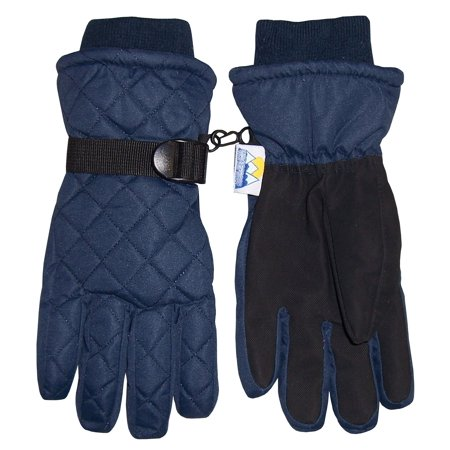 NICE CAPS Kids Boys Girls Winter Thinsulate Waterproof Quilted Ski Snow Gloves - Fits Childrens Childs Youth Toddlers Sizes - Childrens Black Gloves