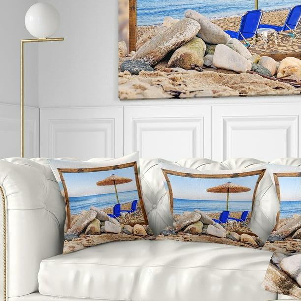 Design Art Designart Framed Effect Beach With Chairs Umbrella Seashore Photo Throw Pillow Walmart Com Walmart Com