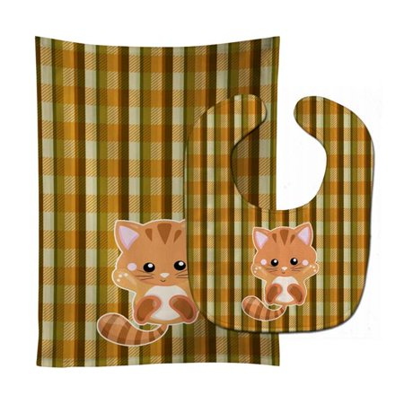 Carolines Treasures BB6882STBU Hooray Kitten Baby Bib & Burp Cloth - image 1 of 1