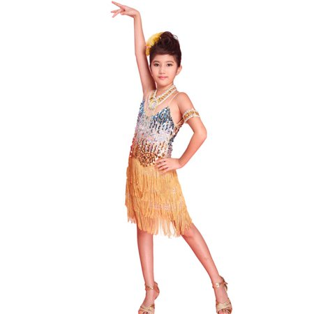 Girls Latin dance dress Tango Sequin Dance children Fairy Dresses costume (Ready To Ship Dance Costumes)