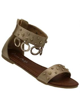 b4af269d95afef Product Image Laureen-80 Girls Sandals Gladiator Flip Flops Open toe Shoes  Flats Beach Shoes Gold 11