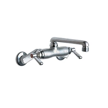 Chicago Faucets 737-RCF Wall Mount Service Sink Faucet with Adjustable Centers, Rough Chrome