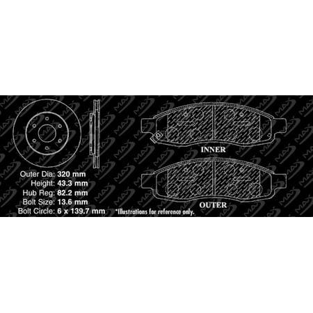 Max Brakes Front Performance Brake Kit [ Silver Zinc Slotted Drilled Rotors + Ceramic Pads ] KT033111 | Fits: 2005 05 Nissan Armada Thru Feb 2005 - image 2 of 8