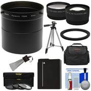 Panasonic Lumix DMC FZ200 Digital Camera Essentials Bundle with Adapter Tube 2.5x Tele .45x Wide Lens 3 Filter