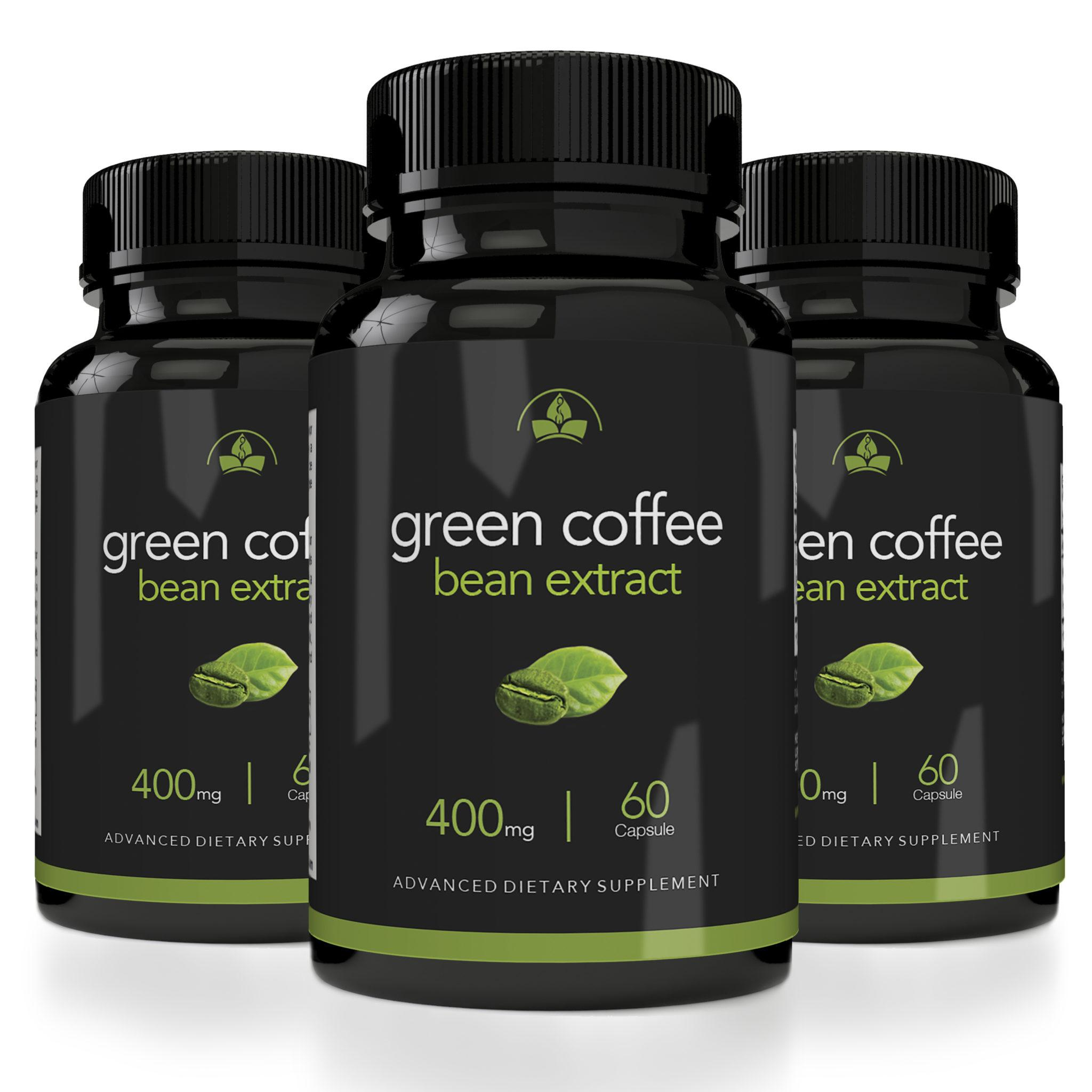 Totally Products Maximum Strength Green Coffee Bean Extract 400mg (60 Capsules) - 3 Bottles