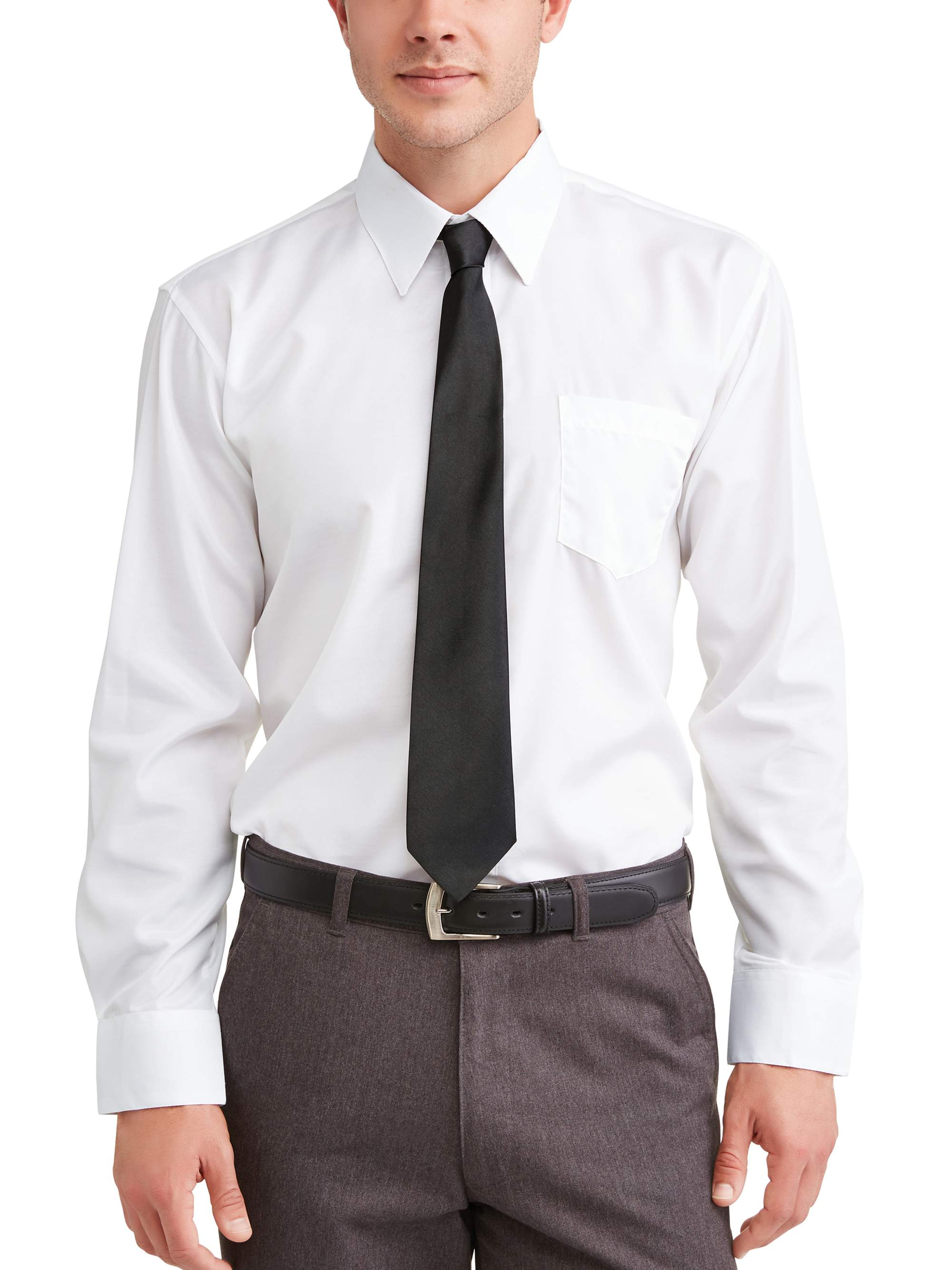 Silver Label Men's Solid White Dress Shirt With Tie, up to size 5X