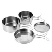 WALFRONT 4Pcs Portable Stainless Steel Cookware Set Camping Picnic Outdoor Pan Pot Plate Tableware,Stainless Steel Cookware Set