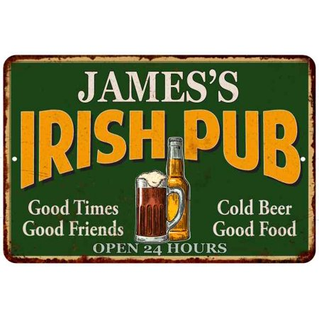 Irish Home Decor (JAMES'S Irish Pub Personalized Beer Metal Sign Bar Decor 8x12 208120013004 )
