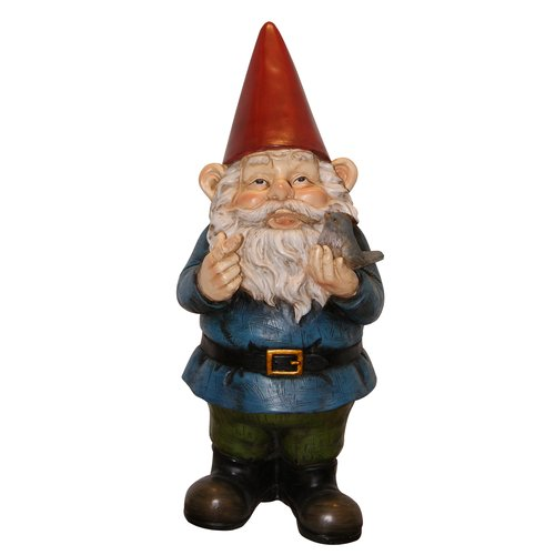 Gnome with Bird Statuary by Alpine Corporation