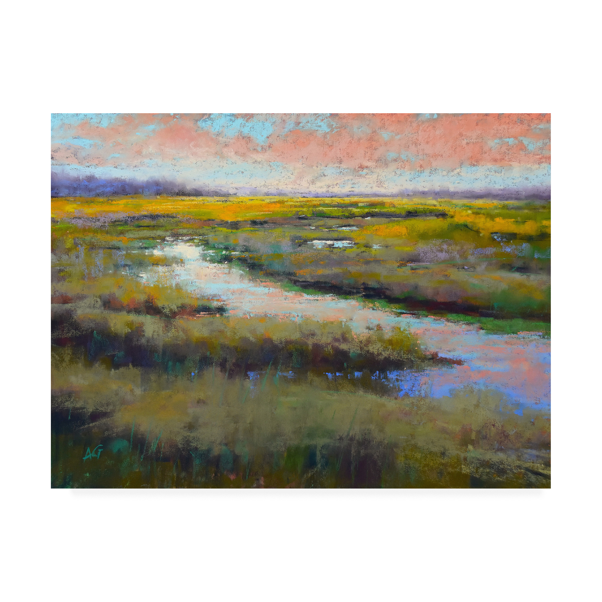 summer Pastel on Paper Marsh Original Fine Art