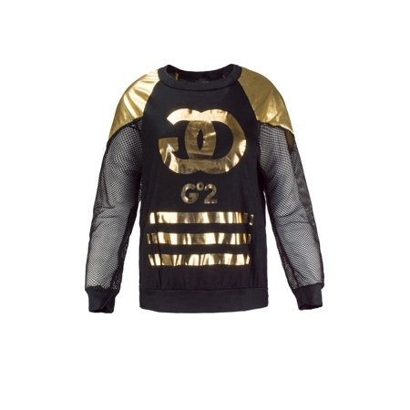 NEW Women Gold Foil Long Sleeve Shirt mesh Jersey Material GOGO Sizes S M L - Gogo Apparel