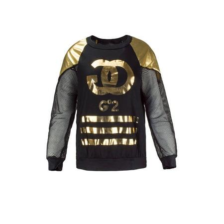 NEW Women Gold Foil Long Sleeve Shirt mesh Jersey Material GOGO Sizes S M L XL
