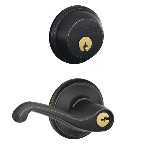 Schlage FB50NV-FLA Flair Keyed Entry Leverset and Deadbolt Combo from the FB-Series by Schlage