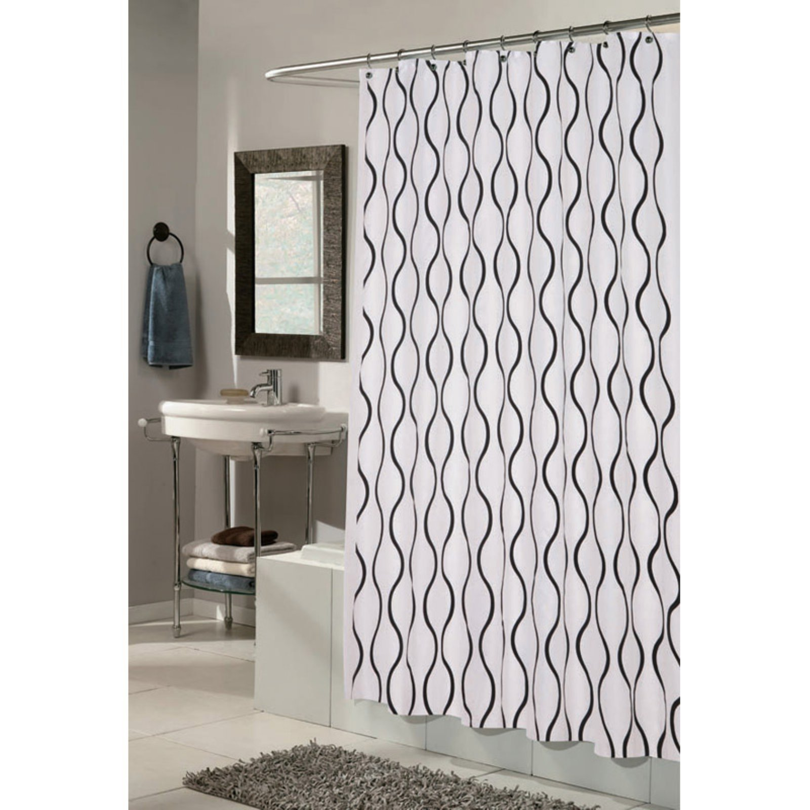 Carnation Home Fashions Geneva Curved Vertical Lines Fabric Shower Curtain