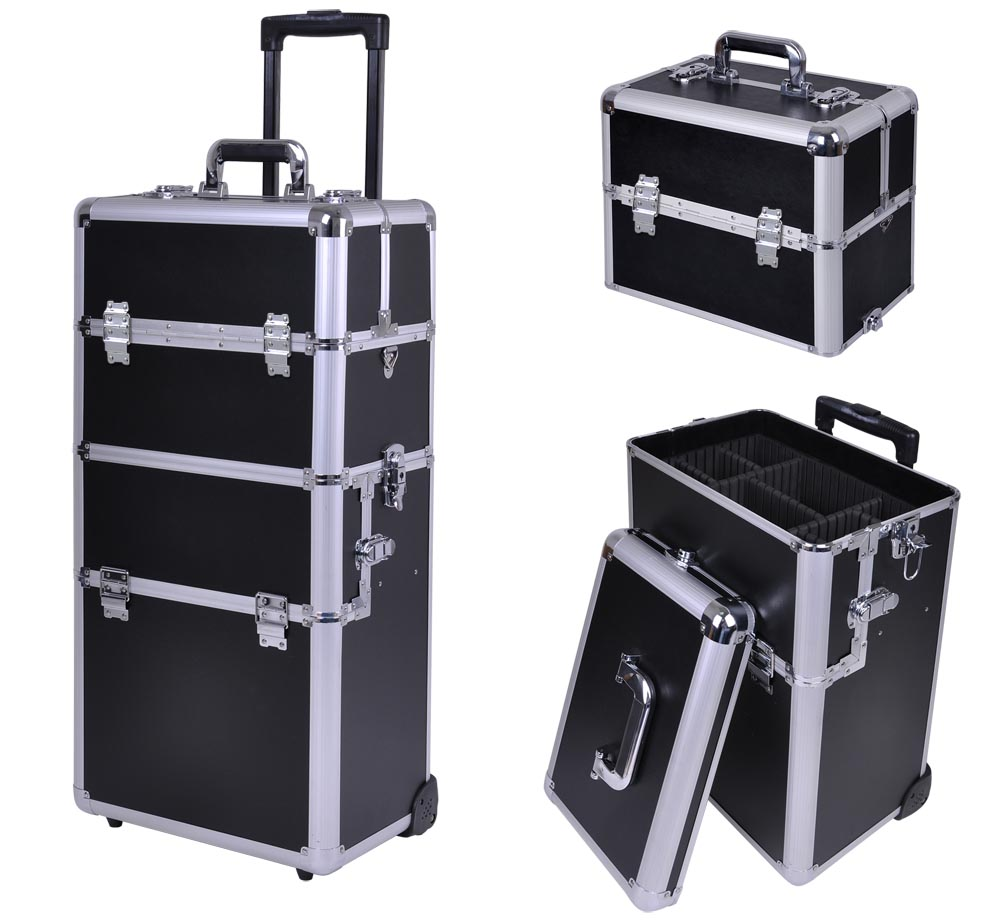 "AW 38"" 2in1 Rolling Makeup Artist Cosmetic Train Case Aluminum Lockable Box with 360 Degree 2-wheel Adjustable Trays"