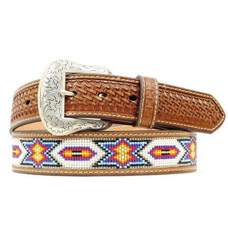 Indian Beaded Belt - Ariat Western Belt Mens Beaded Inlay Basket Tooled Brown N2412608