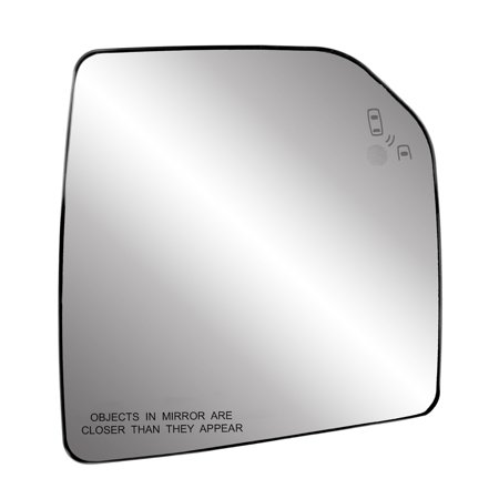 50307 - Fit System Passenger Side Heated Mirror Glass w/back plate, Ford F150 15-18, single lens, blind spot detection system, w/o tow pkg, w/o spot mirror, w/o auto dimming, 7 15/16