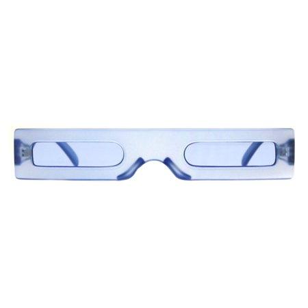 Futuristic Pimp Color 80s Robotic Funk Narrow Rectangle Plastic Sunglasses Blue