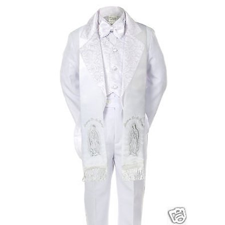 Baby Kid Boy Baptism Christening Tuxedo Suit w/ Silver Guadalupe Stole White S-7](Baby Christening Decorations)