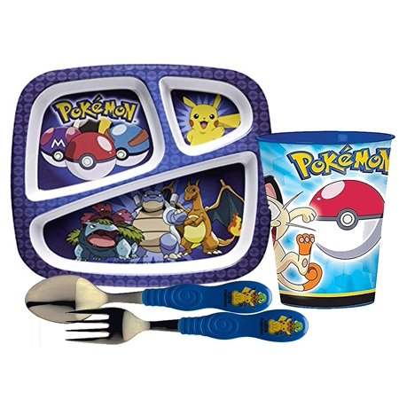 Designs Kids Dinnerware Set Includes Sectioned Plate  Tumbler Cup  Fork   Spoon Set Featuring Pokemon Graphics  Bpa Free  4 Pc Set    1     By Zak