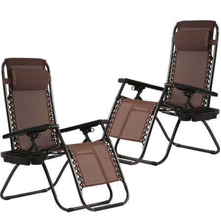Set of 2 Zero Gravity Chairs Reclining Folding Chairs Yard Bench With Holder ()