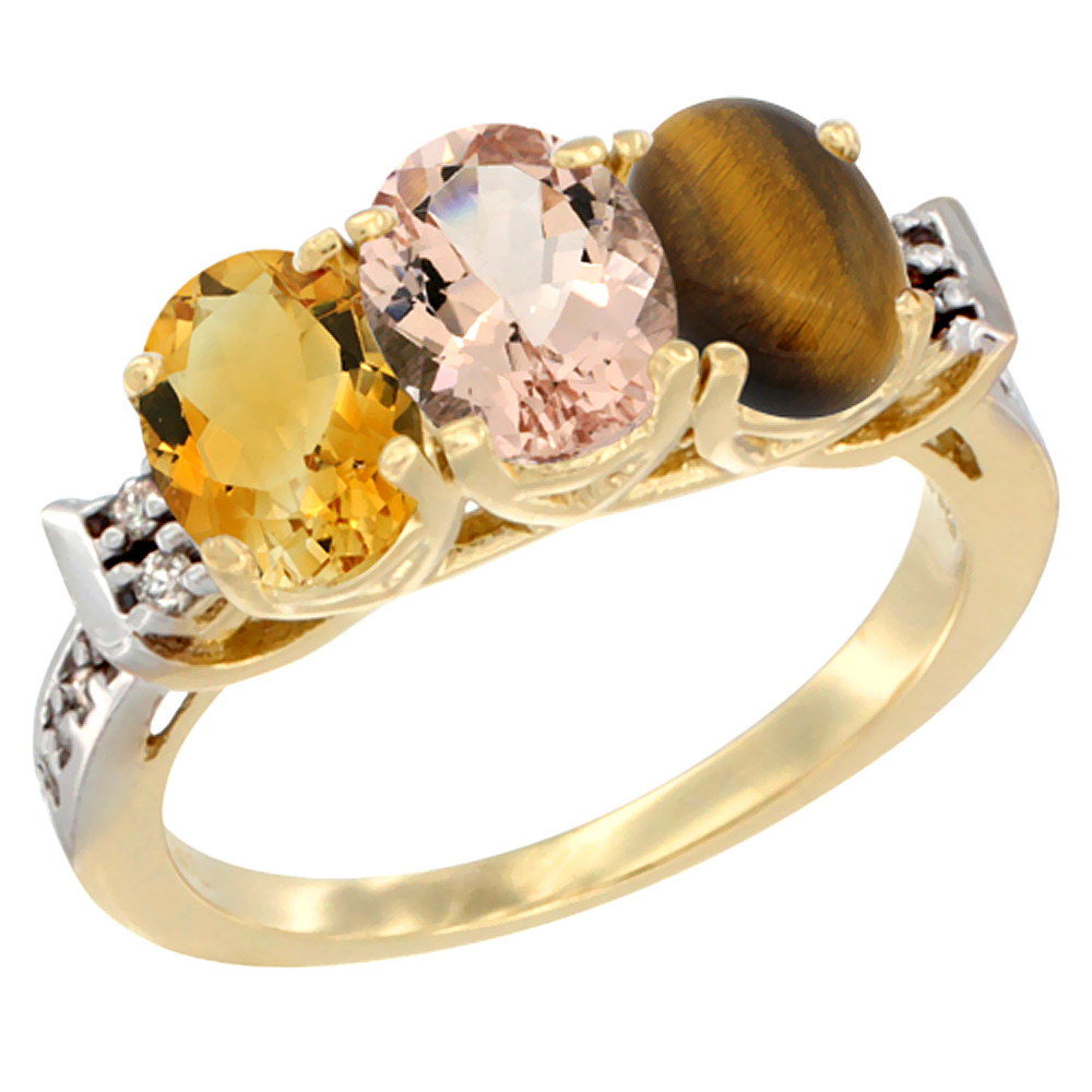14K Yellow Gold Natural Citrine, Morganite & Tiger Eye Ring 3-Stone 7x5 mm Oval Diamond Accent, sizes 5 10 by WorldJewels