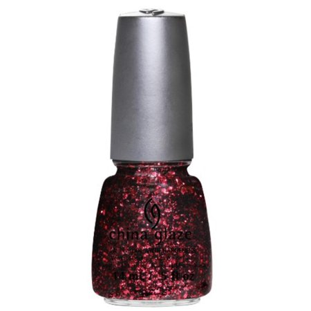 Glimmers Collection Scattered and Tattered, Red multi-sized hex and round glitter mixed with multi-sized black hex and bar glitter in a clear base By China (Glimmer Glaze)