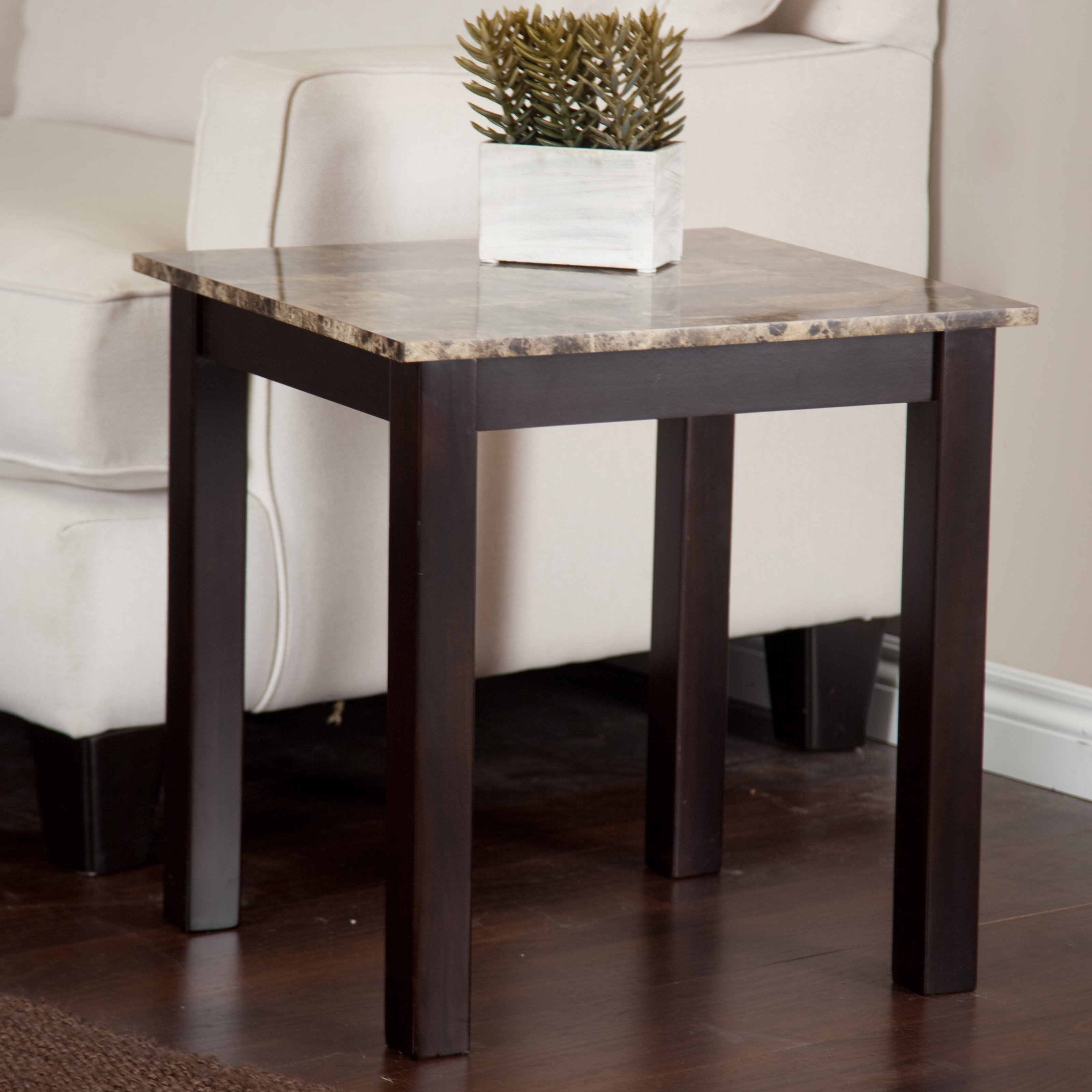 Monarch accent table cappuccino marble top walmart com