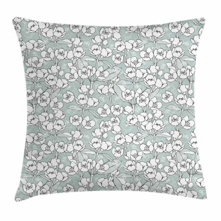 Jasmine Throw Pillow Cushion Cover, Romantic Vintage Pattern with Blossoming Jasmine Flower Branches Image, Decorative Square Accent Pillow Case, 16 X 16 Inches, White Blue and Grey, by Ambesonne