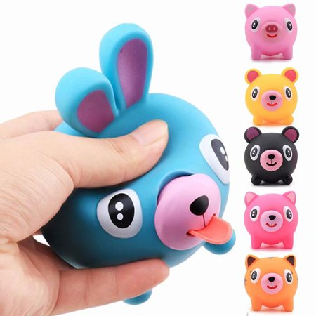 Animal Squishy Toy,Simulated Blue Rabbit Slow Screaming Tongue Squishies Squeeze Toy Stress Relief Toy for Kids Adults Black Tailed Jack Rabbit