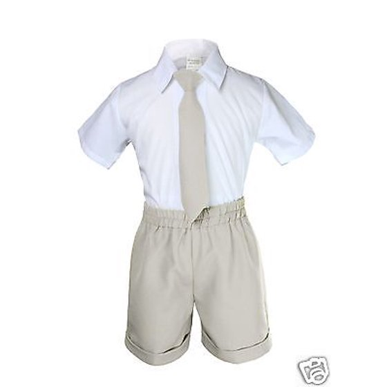 6dd7fac39 Unotux - Boy Infant & Toddler Formal Eton Light Khaki Vest Shorts Suits S M  L XL 2T 3T 4T - Walmart.com