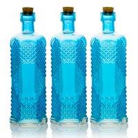 BULK PACK (3) Aria Turquoise Vintage Glass Bottle Wedding Flower Vase
