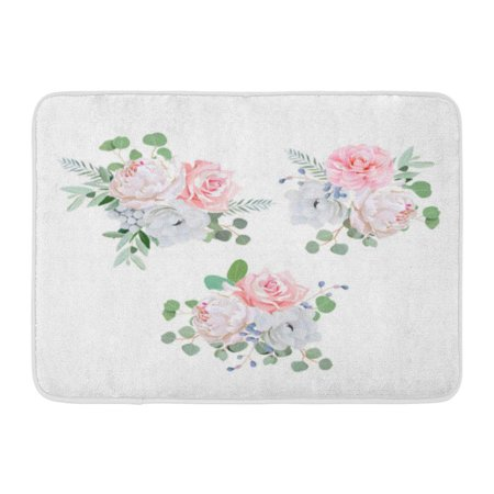 GODPOK White Bunch Bouquets of Rose Peony Anemone Camellia Brunia Flowers and Eucalyptus Leaves Design Pink Rug Doormat Bath Mat 23.6x15.7 inch