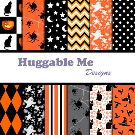 Halloween Scrapbook Paper on CD, 12 Designs of digital scrapbook paper on CD By Huggable Me - Halloween Printable Scrapbook Paper