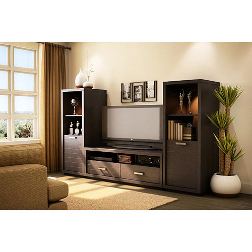 South Shore Skyline TV Stand 42 And 2 Media Towers Set Chocolate