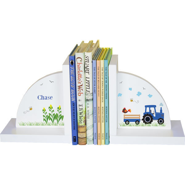 Personalized Blue Tractor Childrens Bookends