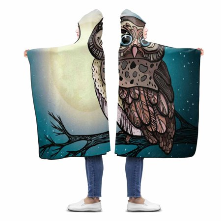 ASHLEIGH Owl Sitting On A Branch In The Night Starry Sky With Full Moon Custom Hooded Blanket Throw Blanket Wearable Hooded Blanket 56x80 inch